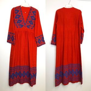Mexican Aztec Embroidered Linen Maxi Dress Small